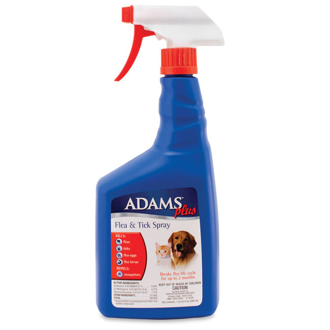 Use Adams Plus Flea and Tick Spray to quickly kill fleas and ticks on your dog or cat plus keep fleas gone for up to two months. Also repel mosquitoes.