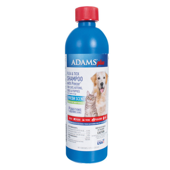 Adams Plus Flea & Tick Shampoo with Precor for dogs and cats removes loose dandruff, dirt and scales plus protects from fleas, ticks and lice.