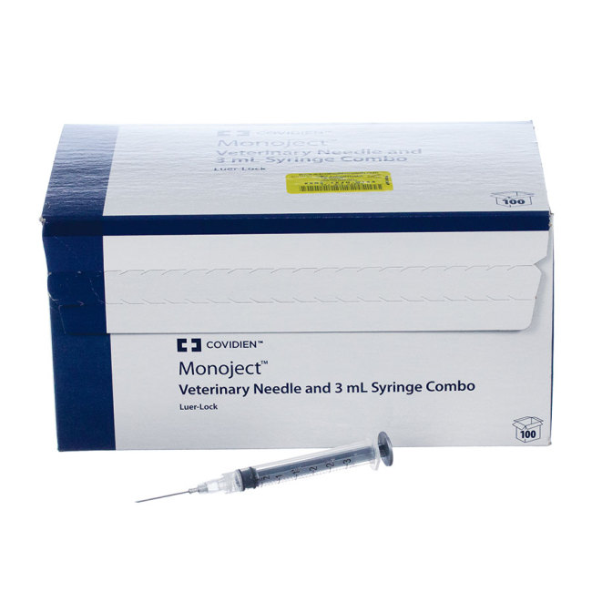 Monoject Syringes with Needles are available in Regular Luer (RL) and Luer Lock (LL). Includes a sterile, stainless steel needle. Regular Luer (RL) means the needle pulls off. The syringe has a tapered tip so it can also be used as an oral feeder. Luer Lock (LL) means the needle twists on and off for a more secure fit. However, the syringe cannot be used for oral feeding. Save when you buy a box.