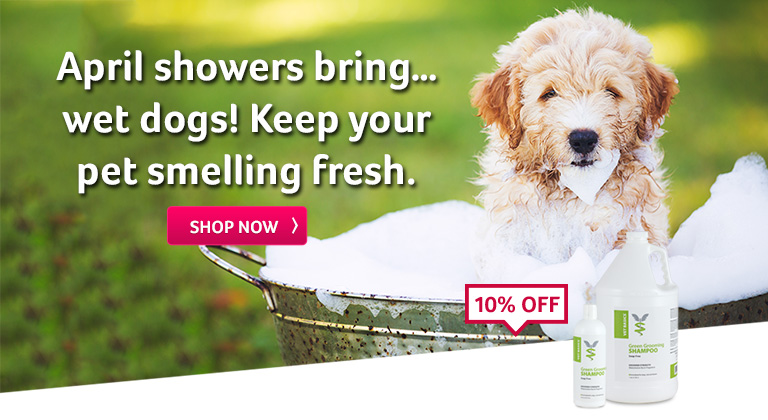 April showers bring… wet dogs! Keep your pet smelling fresh.